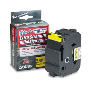 Brother P-Touch TZ Extra-Strength Adhesive Laminated Labeling Tape 1-1/2-inch wide Black on Yellow