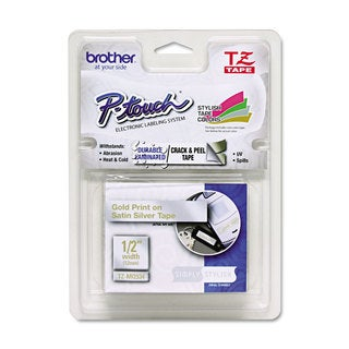 Brother P-Touch TZ Standard Adhesive Laminated Labeling Tape 1/2-inch x 16.4-feet Gold/Silver