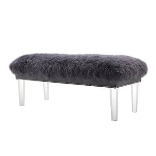 Luxe Grey Sheepskin Bench