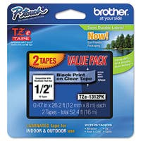 Brother P-Touch TZe Standard Adhesive Laminated Labeling Tapes 1/2w Black on Clear 2/Pack