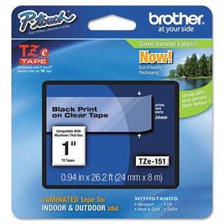 Brother P-Touch TZe Standard Adhesive Laminated Labeling Tape 1w Black on Clear