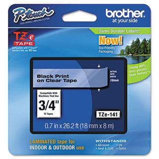 Brother P-Touch TZe Standard Adhesive Laminated Labeling Tape 3/4w Black on Clear