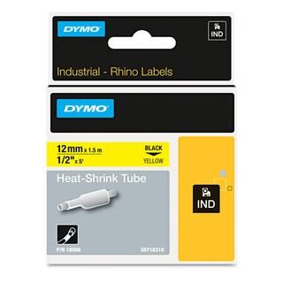 DYMO Rhino Heat Shrink Tubes Industrial Label Tape 1/2-inch x 5-feet White/Black Print
