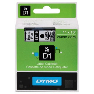 DYMO D1 High-Performance Polyester Removable Label Tape 1 inches x 23 ft Black on Clear
