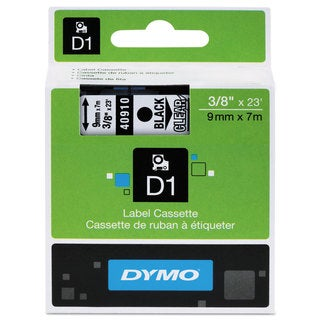 DYMO D1 High-Performance Polyester Removable Label Tape 3/8-inch x 23-feet Black on Clear