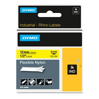 DYMO Rhino Flexible Nylon Industrial Label Tape 1/2 inches x 11 1/2 ft Yellow with Black Print