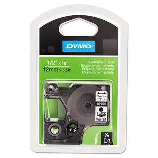 DYMO D1 High-Performance Polyester Permanent Label Tape 1/2-inch x 18-feet Black on White