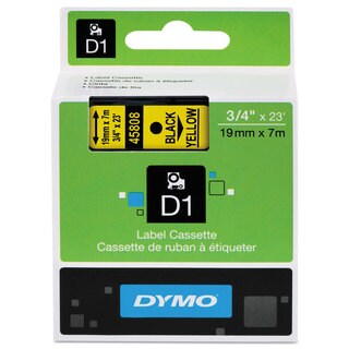 DYMO D1 High-Performance Polyester Removable Label Tape 3/4 x 23 ft Black on Yellow