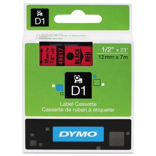 DYMO D1 High-Performance Polyester Removable Label Tape 1/2 inches x 23 ft Black on Red