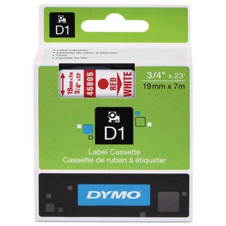 DYMO D1 High-Performance Polyester Removable Label Tape 3/4-inch x 23-feet Red on White