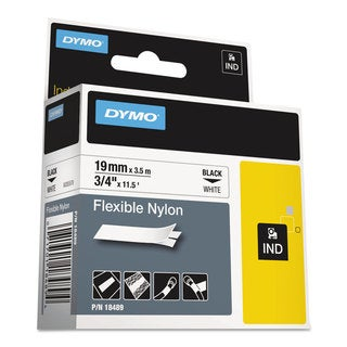 DYMO Rhino Flexible Nylon Industrial Label Tape 3/4 inches x 11 1/2 ft White/Black Print