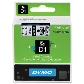 DYMO D1 High-Performance Polyester Removable Label Tape 3/4 inches x 23 ft Black on Clear