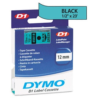 DYMO D1 High-Performance Polyester Removable Label Tape 1/2-inch x 23-feet long Black on Green