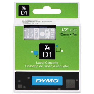 DYMO D1 High-Performance Polyester Removable Label Tape 1/2-inch x 23 ft White on Clear