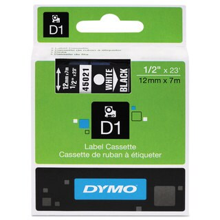 DYMO D1 High-Performance Polyester Removable Label Tape 1/2-inch x 23 ft White on Black