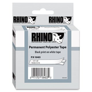 DYMO Rhino Permanent Poly Industrial Label Tape 1/2 inches x 18 ft White/Black Print