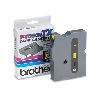 Brother P-Touch TX Tape Cartridge for PT-8000 PT-PC PT-30/35 1/2w Black on Yellow