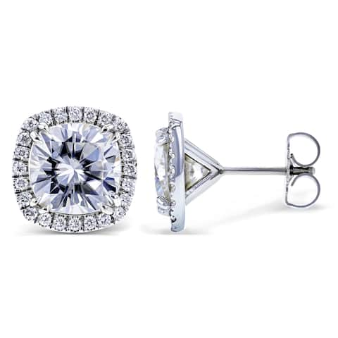Annello by Kobelli 14k White Gold 6ct TGW Cushion Moissanite (HI) and Diamond (GH) Halo Formal Stud Earrings