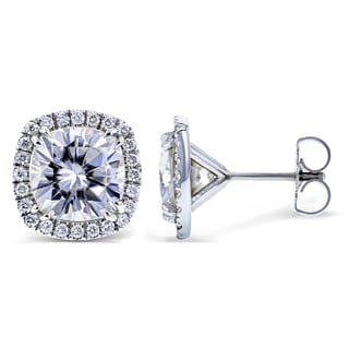 Annello by Kobelli 14k White Gold Cushion Moissanite and 2/5ct TDW Diamond Halo Formal Stud Earrings (GH, I1-I2)