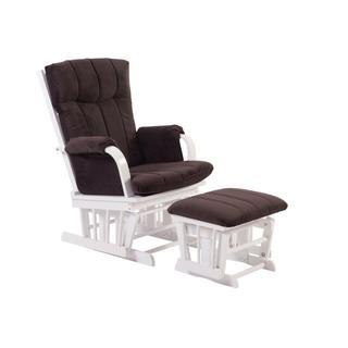 Artiva USA Home Deluxe Brown Microfiber and White Glider and Ottoman set