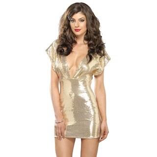 Leg Avenue Gold Stretch Sequin Mini Dress