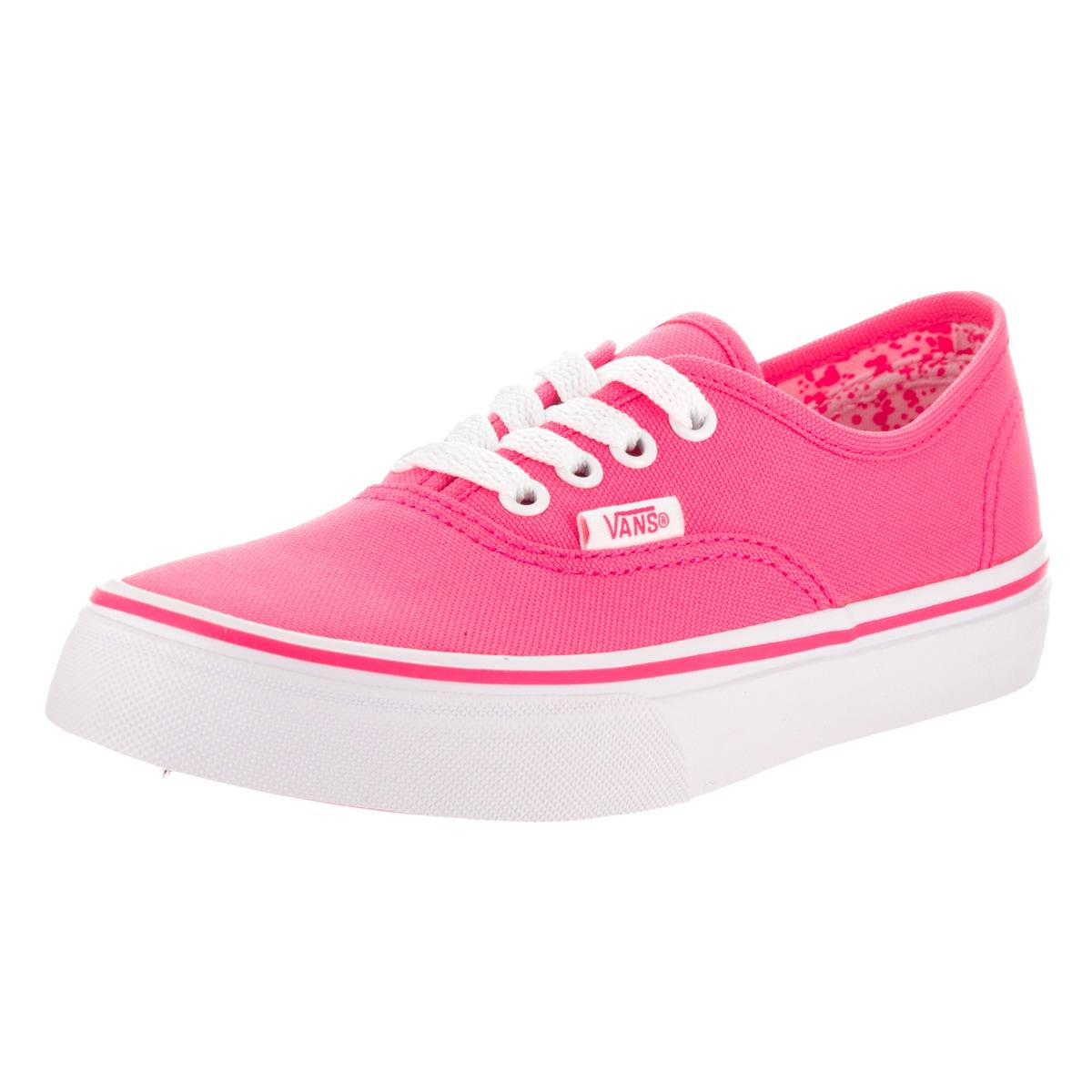 Vans Kid's Pink Neon Splatter Canvas Authentic Skate Shoe...