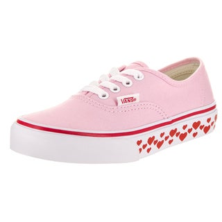 Vans Kids Authentic (Hearts Tape) Pink Canvas Skate Shoes