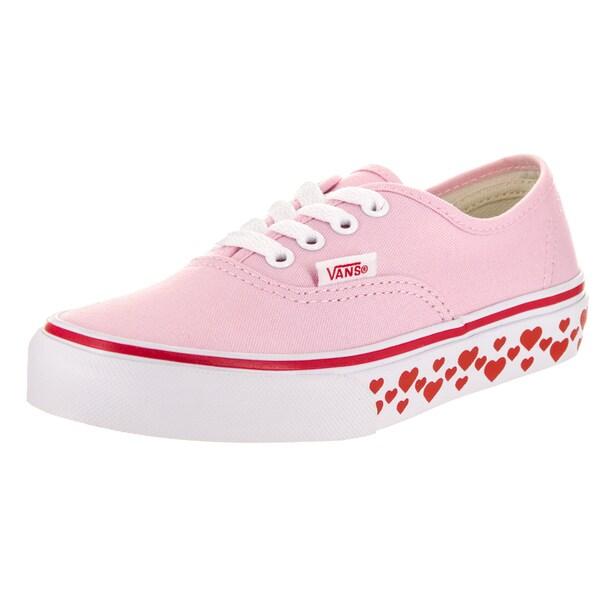 bc49a6694b2b Shop Vans Kids Authentic (Hearts Tape) Pink Canvas Skate Shoes ...
