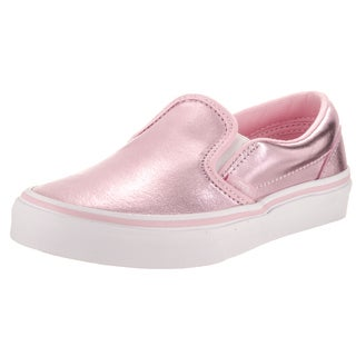 Vans Kid's Pink Metallic Synthetic Leather Classic Slip-on Skate Shoe