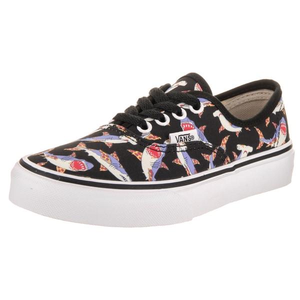 new arrival 8e518 aa07d Shop Vans Kids Authentic Pizza Sharks Black Canvas Skate ...