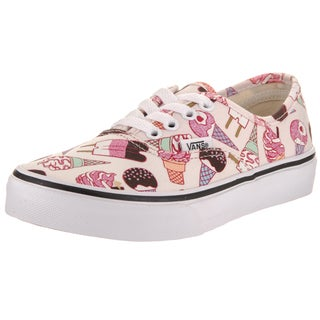 Vans Kid's Pink Canvas Authentic Glitter Ice Cream Skate Shoe
