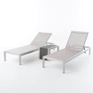 Cape Coral Mesh Chaise Lounge Set with C-Shaped End Table by Christopher Knight Home