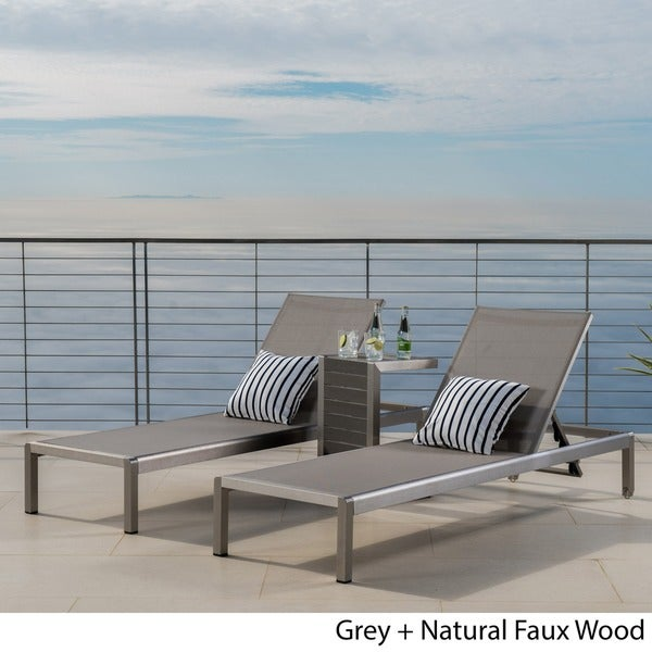 cape coral mesh chaise lounge with end table by christopher knight home set of 2 free shipping today