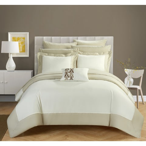 Chic Home Beige and White 10-Piece Bed In A Bag Comforter Set