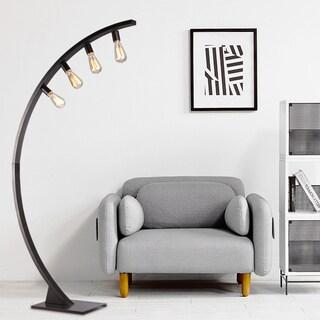 Robelim Antique Black Arch Floor Lamp with Edison Bulbs