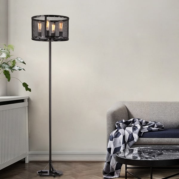Corgin Black Mesh Round Floor Lamp with Edison Bulbs