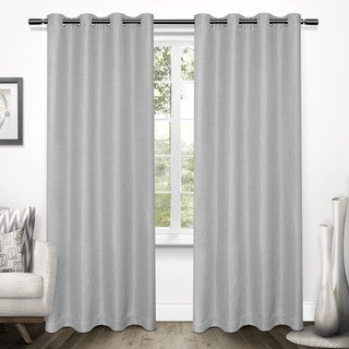 ATI Home Tweed Textured Linen Woven Blackout Grommet Top Curtain Panel Pair