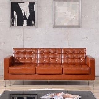 HERCULES Lacey Series Contemporary Leather Sofa with Stainless Steel Frame