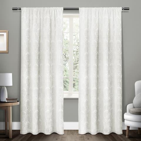 ATI Home Damask Woven Blackout Rod Pocket Top Curtain Panel Pair