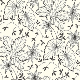 Brewster Ink Plants Off-white Wallpaper