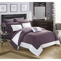 Chic Home Purple Color Block 10-Piece Bed In A Bag Comforter Set