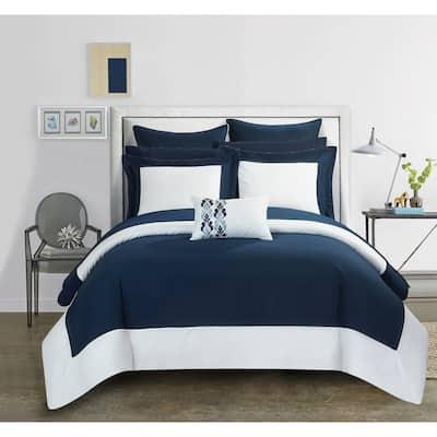 Porch & Den Ellsworth Navy Color Block Microfiber 10-piece Bed-in-a-Bag with Sheet Set