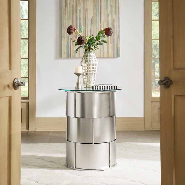 Elbridge Modern Round Glass Top Metal Foyer Table By INSPIRE Q Bold