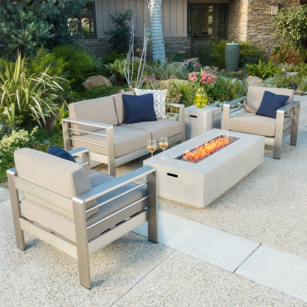 Cape Coral Outdoor 5 Piece Chat Set With Fire Table By