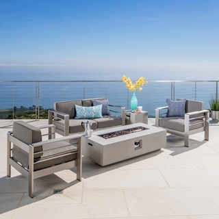 Cape Coral Outdoor 5 Piece Chat Set With Fire Table And Optional Sunbrella  Cushions By