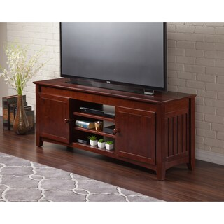 Atlantic Mission Walnut Entertainment Console with Adjustable Shelves