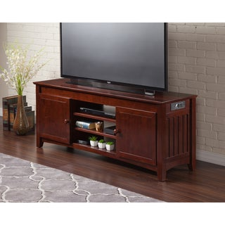 Atlantic Walnut Wood 60-inch Mission Entertainment Console with Adjustable Shelves and Charging Station