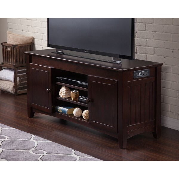 Atlantic Nantucket Espresso Wood 50 Inch Entertainment Console With Adjustable  Shelves And Charging Station