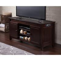 Atlantic Nantucket Espresso Wood 50-inch Entertainment Console With Adjustable Shelves and Charging Station