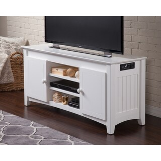 Atlantic Nantucket White Entertainment Console With Adjustable Shelves and Charging Station